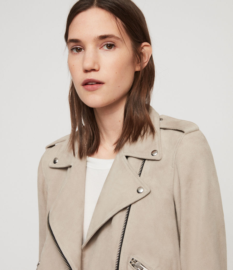Women's Suede Balfern Biker Jacket (dove_grey) - Image 2