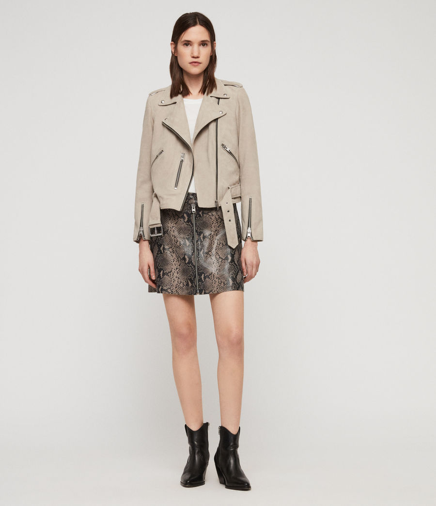 Women's Suede Balfern Biker Jacket (dove_grey) - Image 3