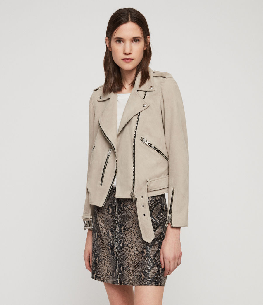 Womens Suede Balfern Biker Jacket (dove_grey) - Image 4