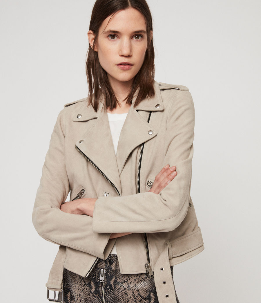 Women's Suede Balfern Biker Jacket (dove_grey) - Image 5