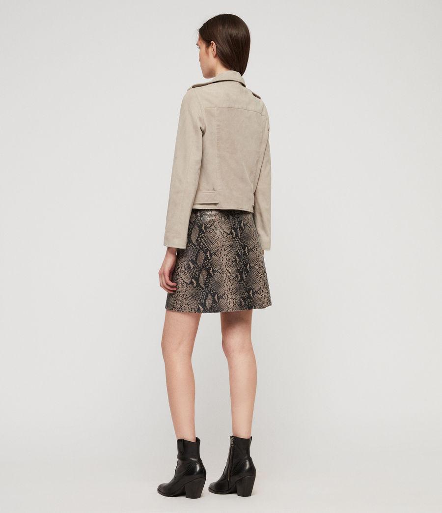Womens Suede Balfern Biker Jacket (dove_grey) - Image 6