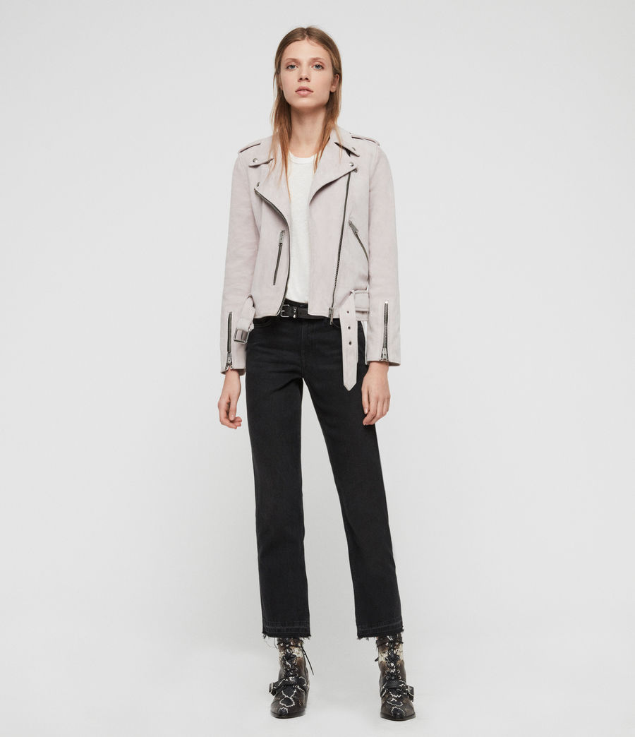 Womens Suede Balfern Biker Jacket (dove_grey) - Image 2
