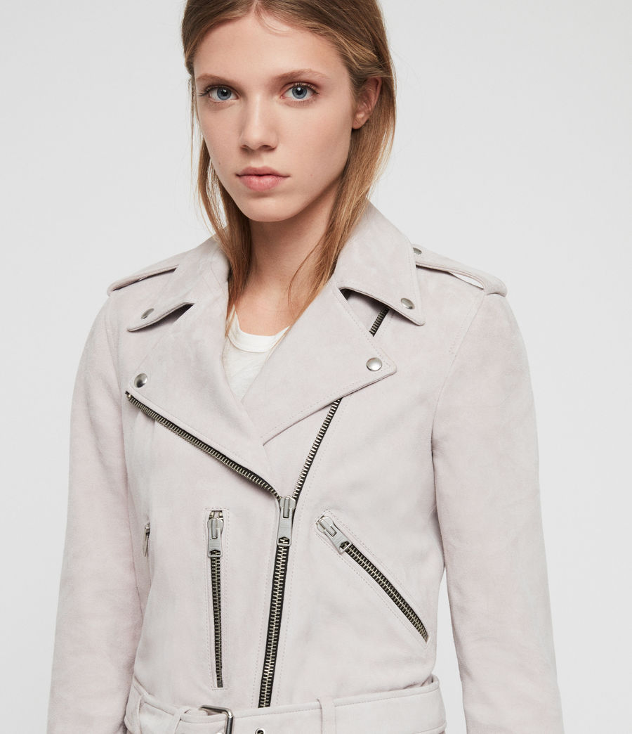 Womens Suede Balfern Biker Jacket (dove_grey) - Image 4