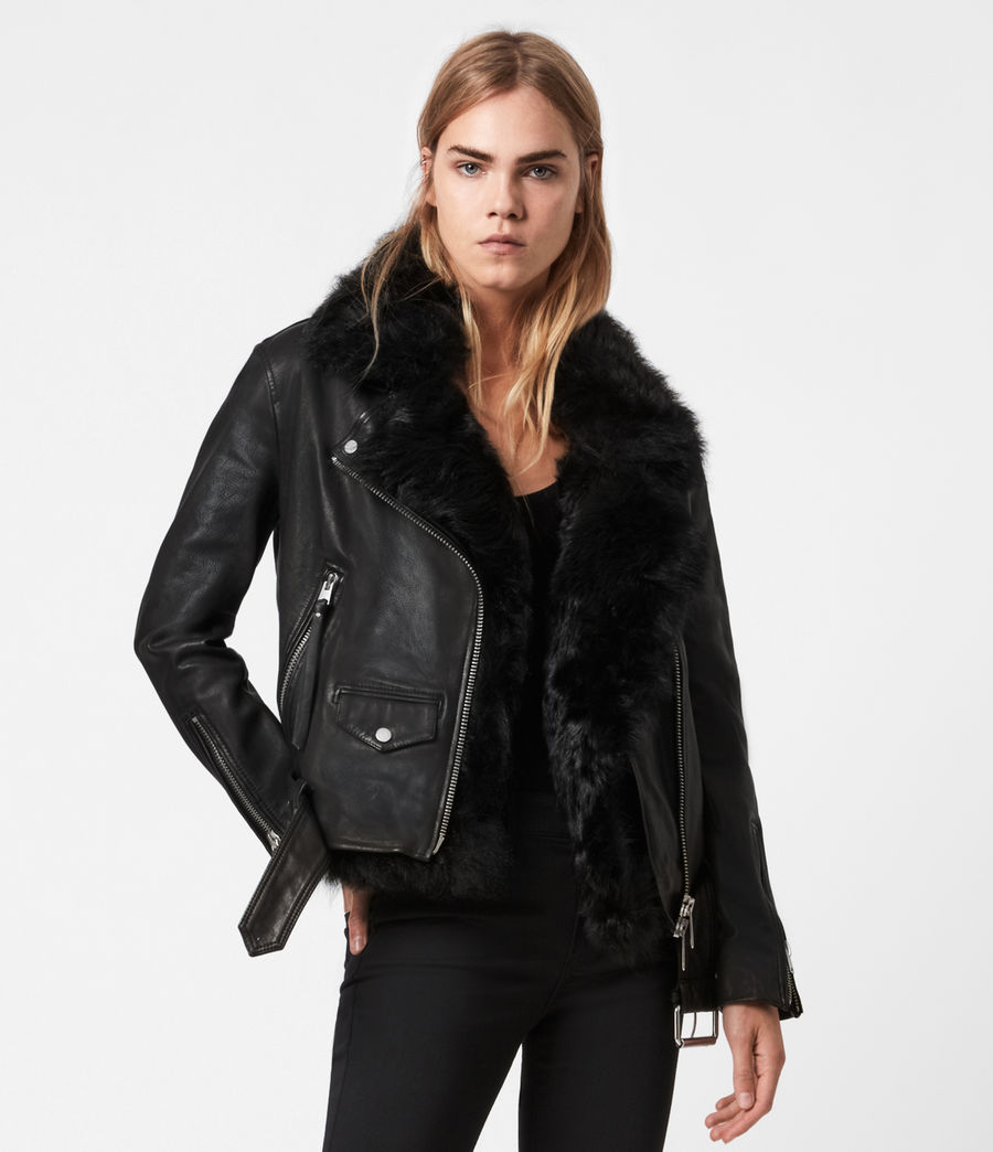 Women's Luna 4-In-1 Shearling Biker Jacket (black_black) - Image 1
