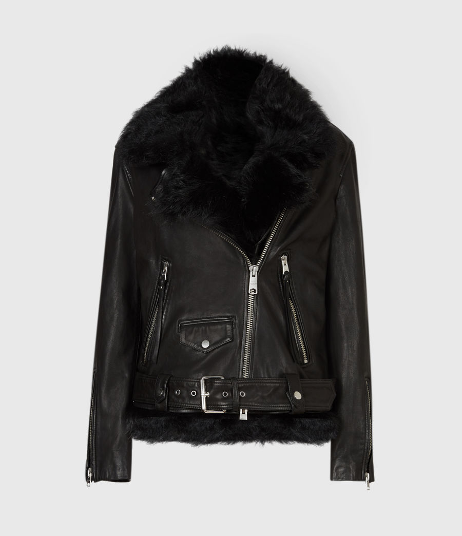 Women's Luna 4-In-1 Shearling Biker Jacket (black_black) - Image 4