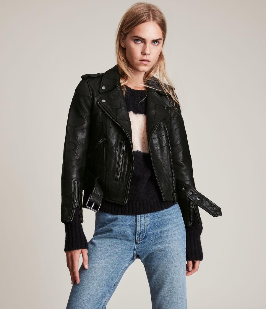 Womens Balfern Patch Leather Biker Jacket (black) - Image 1