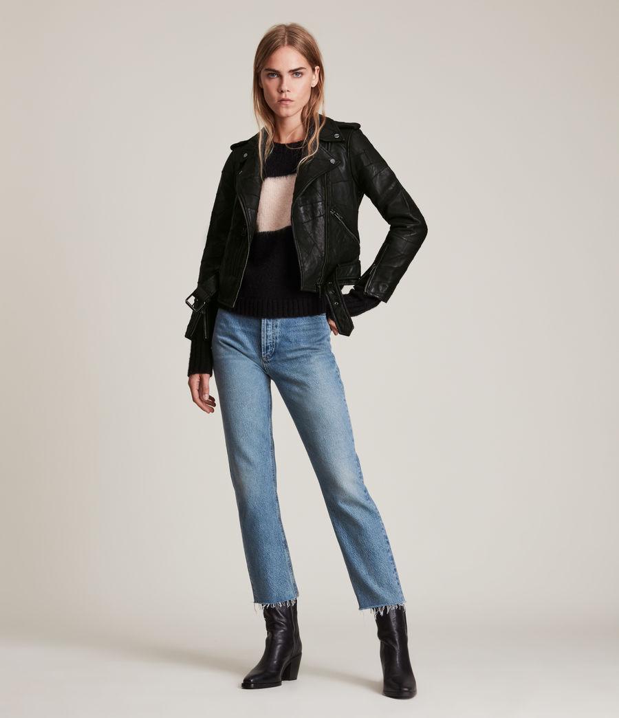 Womens Balfern Patch Leather Biker Jacket (black) - Image 3