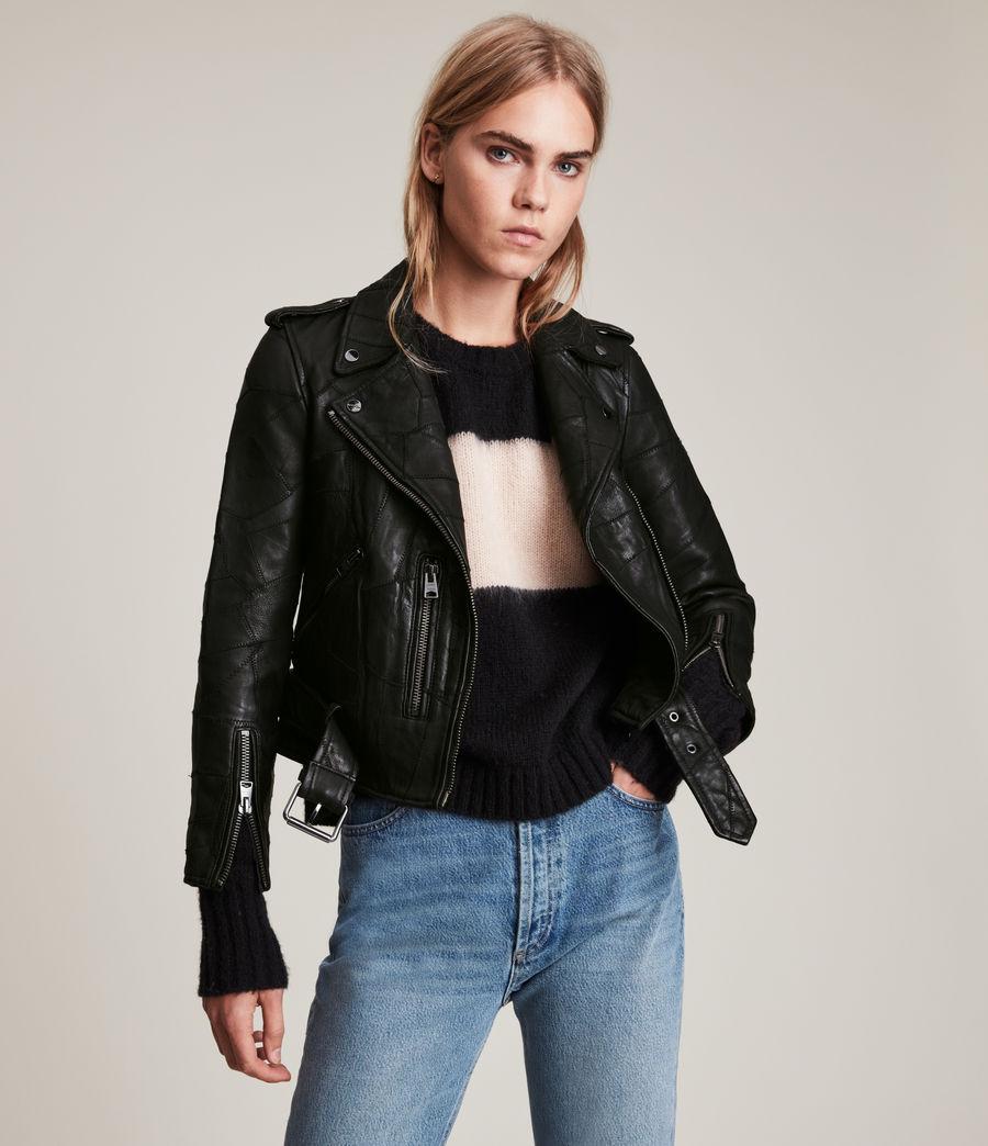 Womens Balfern Patch Leather Biker Jacket (black) - Image 4