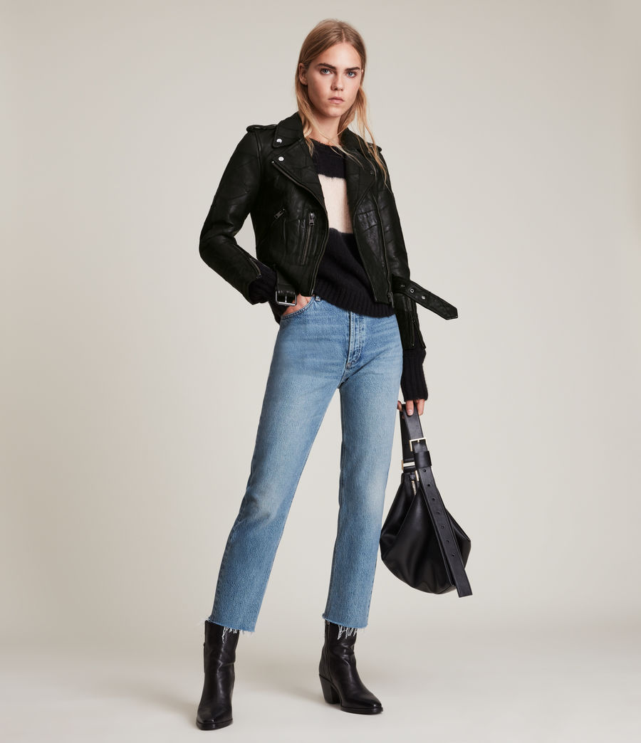 Womens Balfern Patch Leather Biker Jacket (black) - Image 5