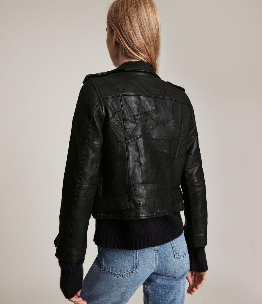 Womens Balfern Patch Leather Biker Jacket (black) - Image 6