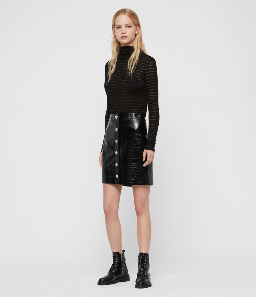 Women's Bela Leather Skirt (croc_black) - Image 1