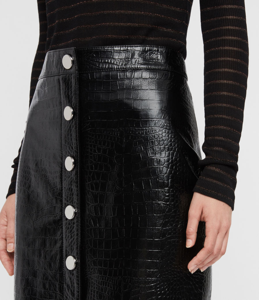Women's Bela Leather Skirt (croc_black) - Image 2