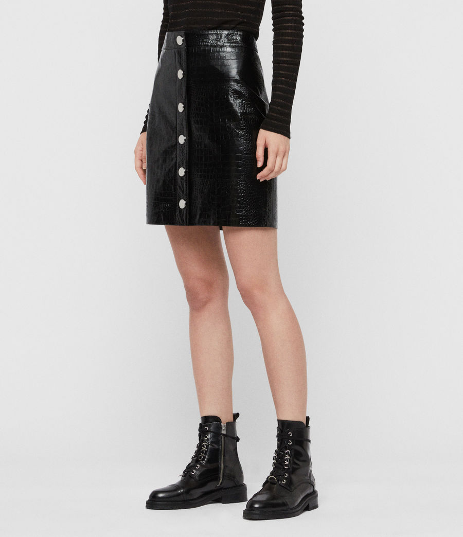 Women's Bela Leather Skirt (croc_black) - Image 3