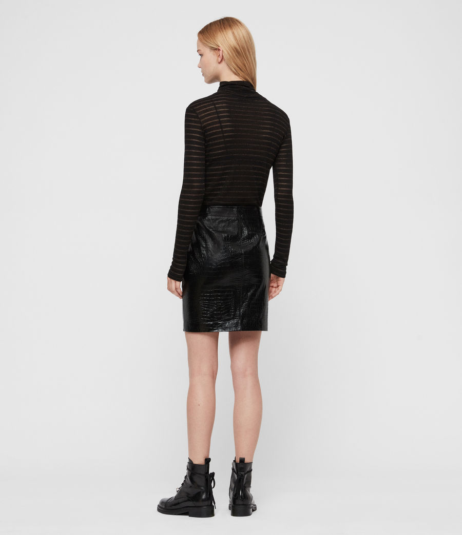 Women's Bela Leather Skirt (croc_black) - Image 4