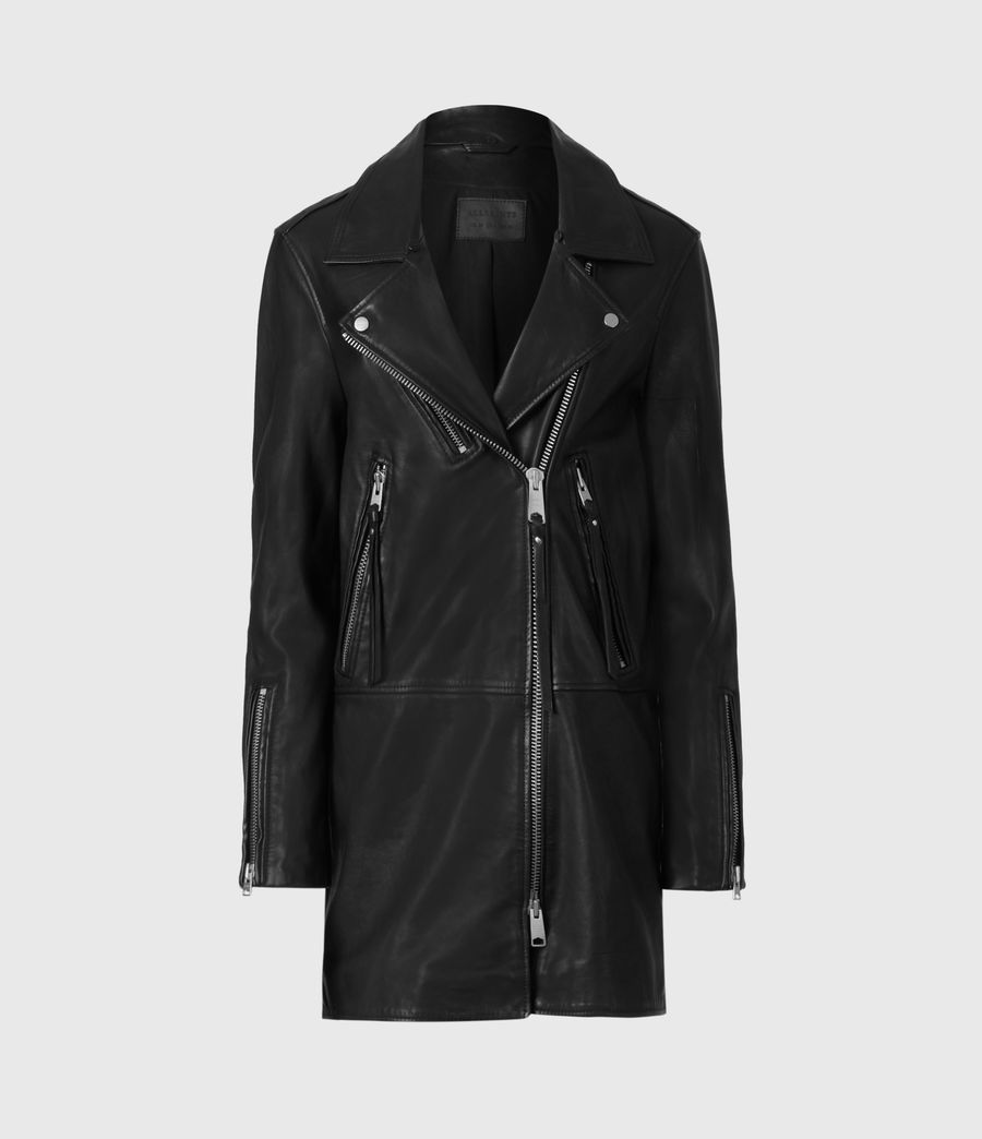 Women's Luna Leather Biker Mac (black) - Image 2
