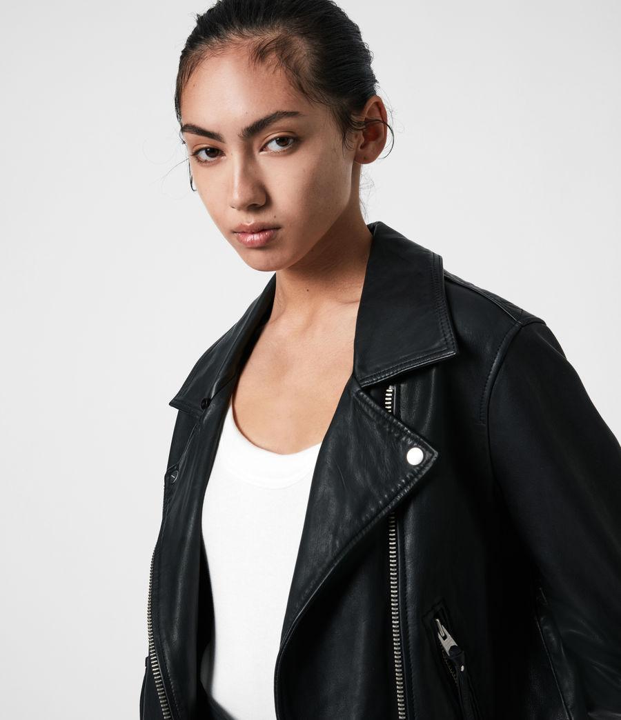 Women's Luna Leather Biker Mac (black) - Image 4