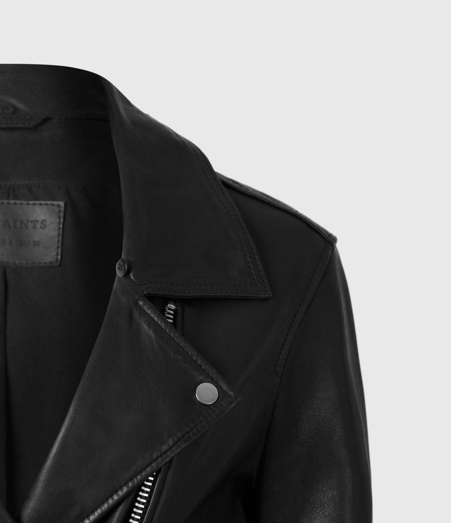 Women's Luna Leather Biker Mac (black) - Image 5