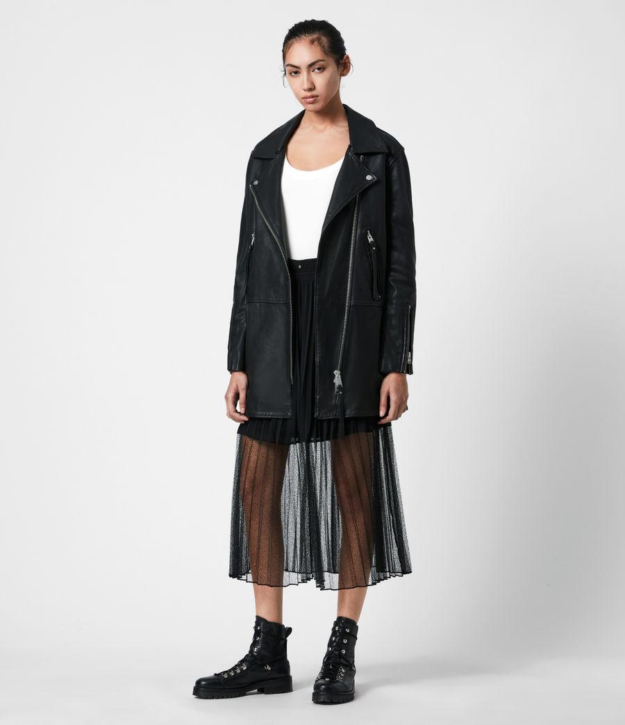 Women's Luna Leather Biker Mac (black) - Image 6