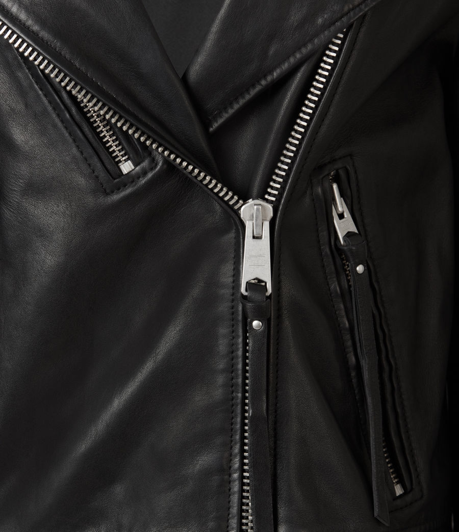 Women's Luna Leather Biker Mac (black) - Image 7