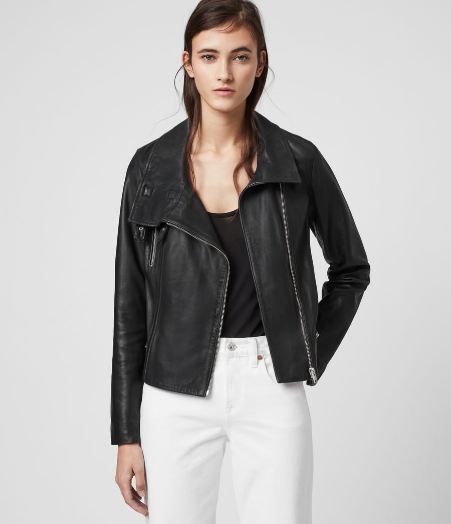 Womens Bales Leather Biker Jacket (black) - Image 1