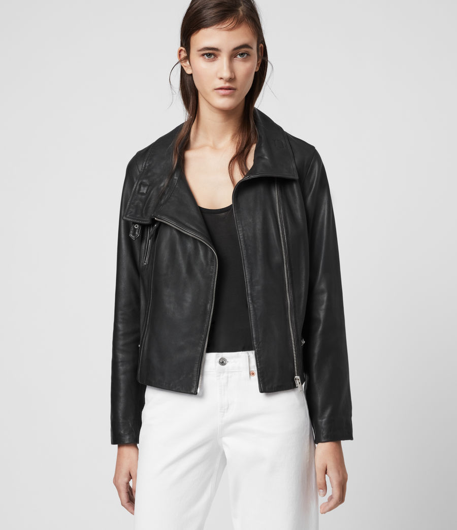 Women's Bales Leather Biker Jacket (black) - Image 4