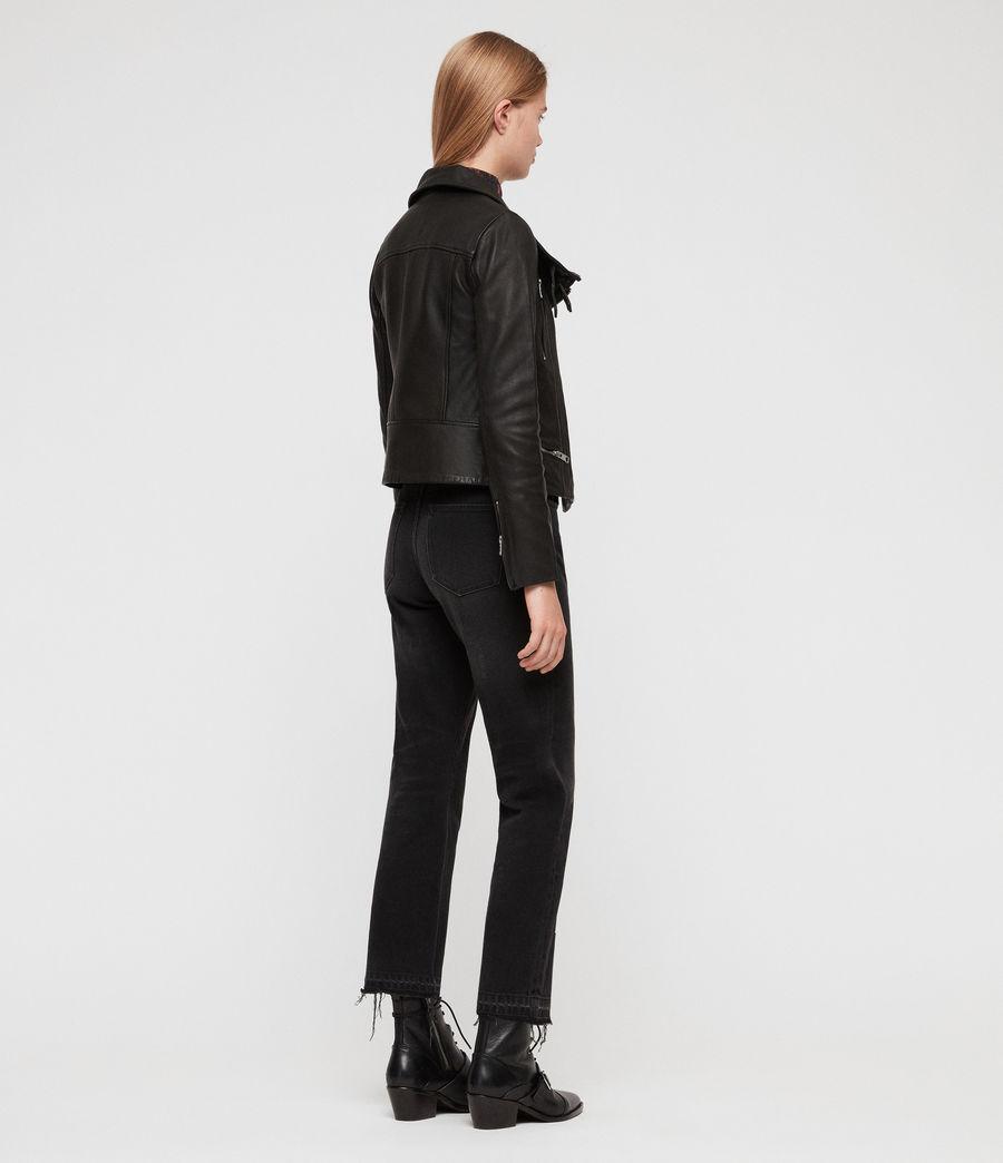 Damen Bales Leder Bikerjacke (black) - Image 9