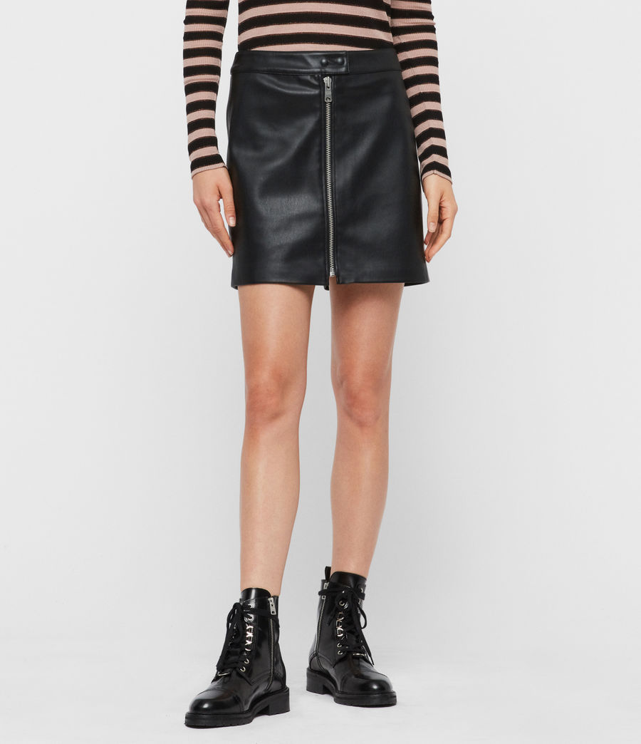 Mujer Lena Leather Skirt (black) - Image 3