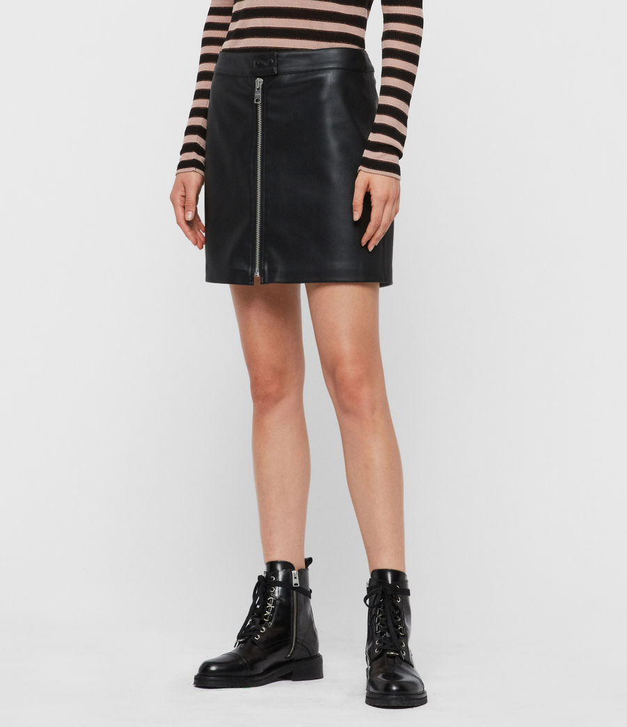 Mujer Lena Leather Skirt (black) - Image 4