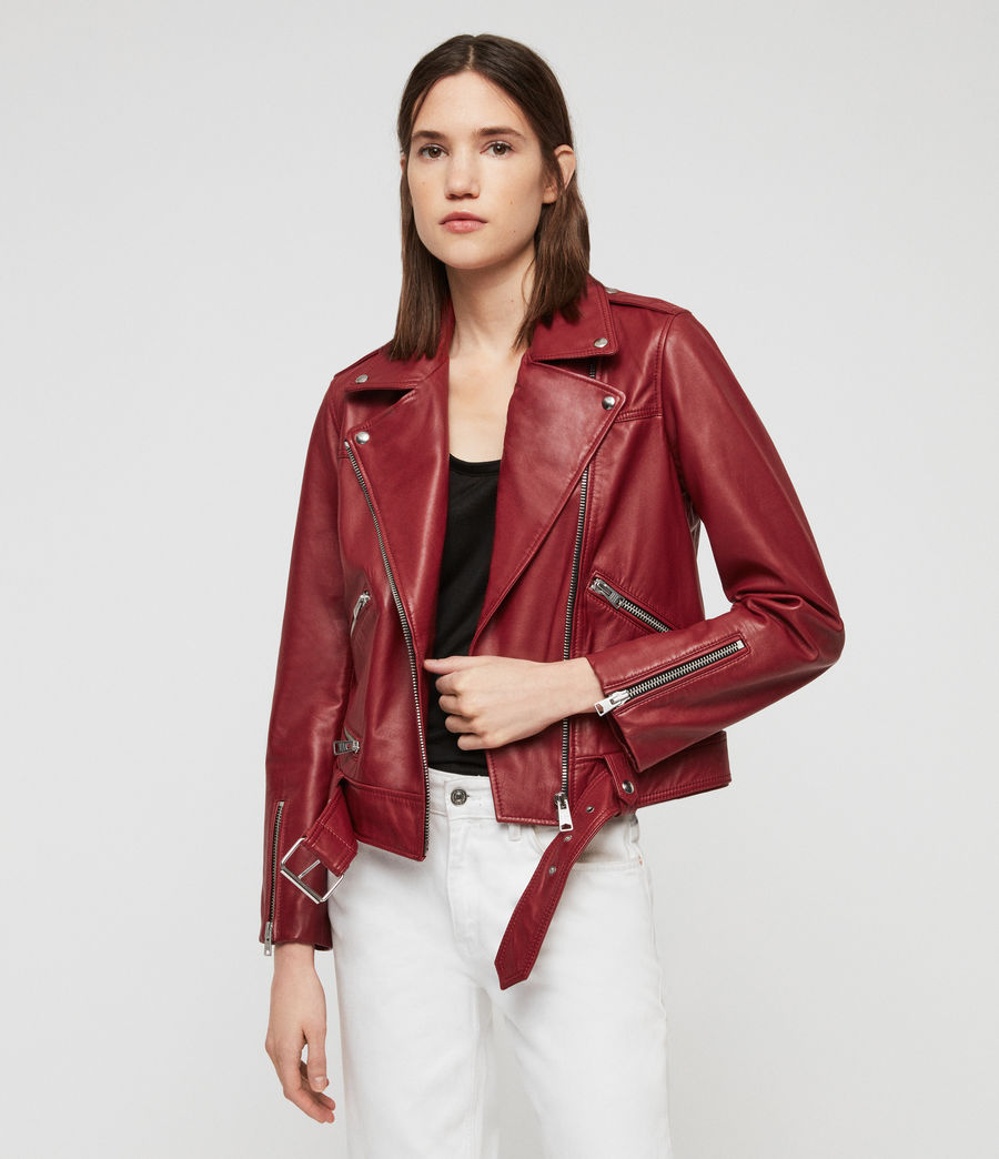 Women's Estae Leather Biker Jacket (ruby_red) - Image 1
