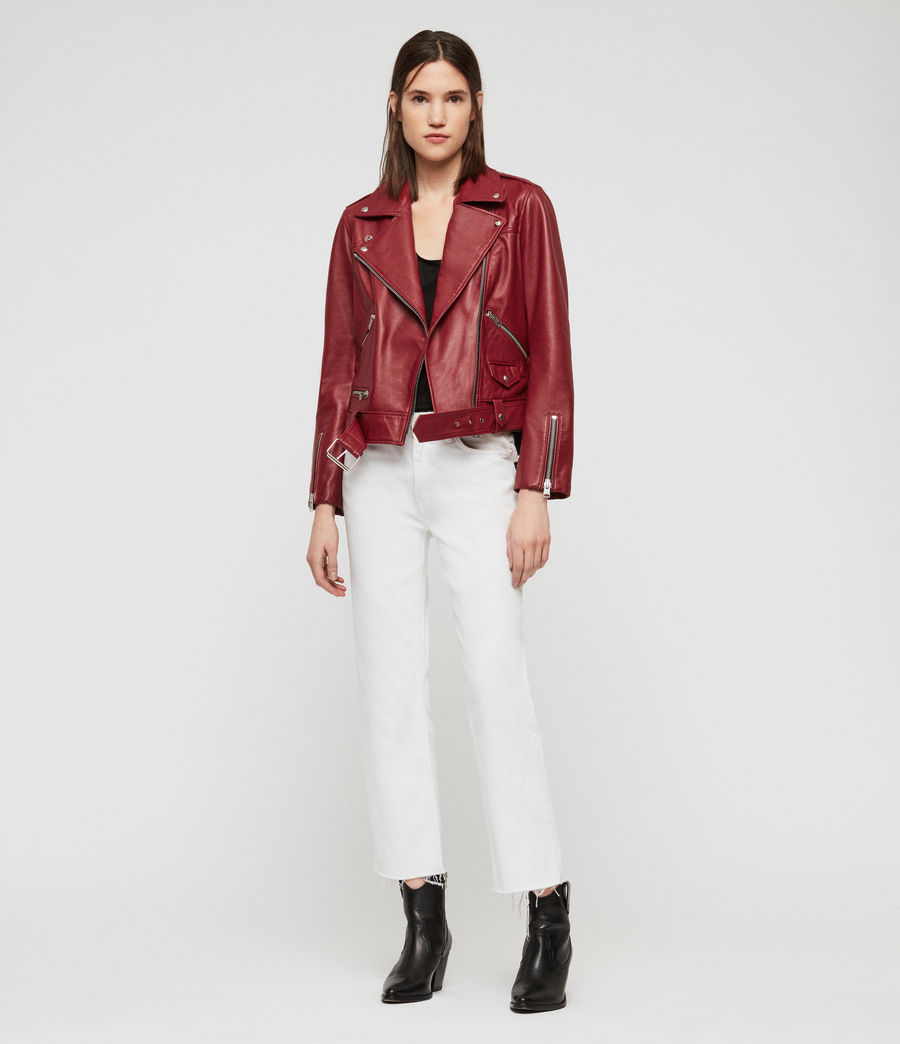 Women's Estae Leather Biker Jacket (ruby_red) - Image 3