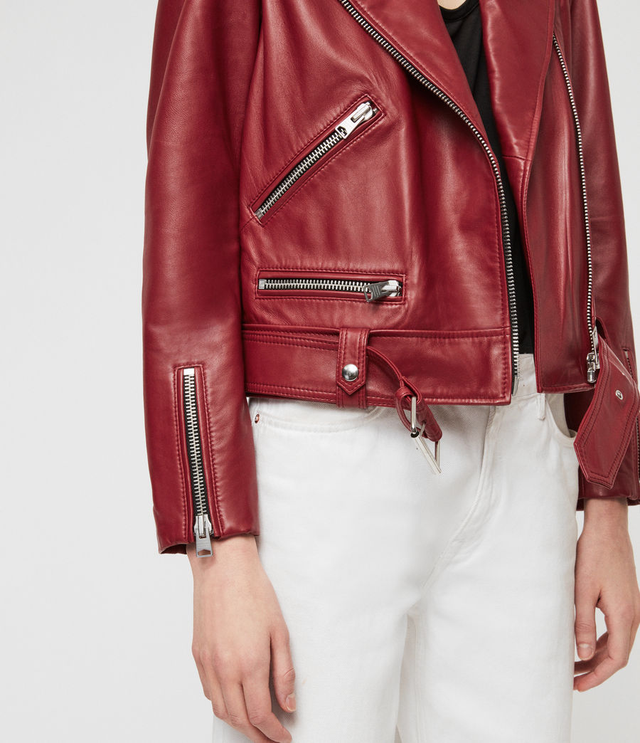 Women's Estae Leather Biker Jacket (ruby_red) - Image 4