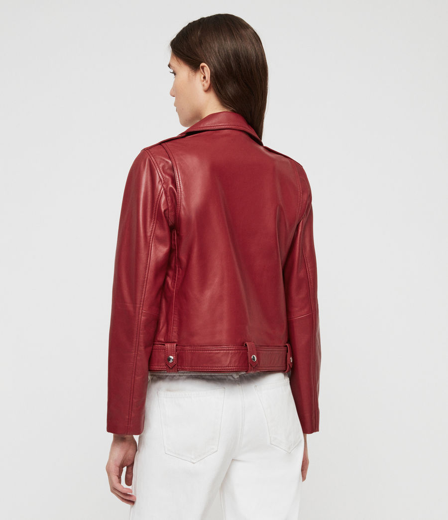 Women's Estae Leather Biker Jacket (ruby_red) - Image 5
