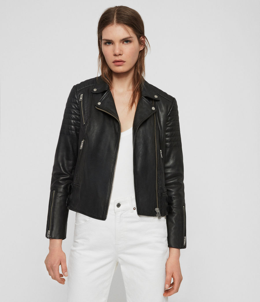 Womens Papin Leather Biker Jacket (black) - Image 1
