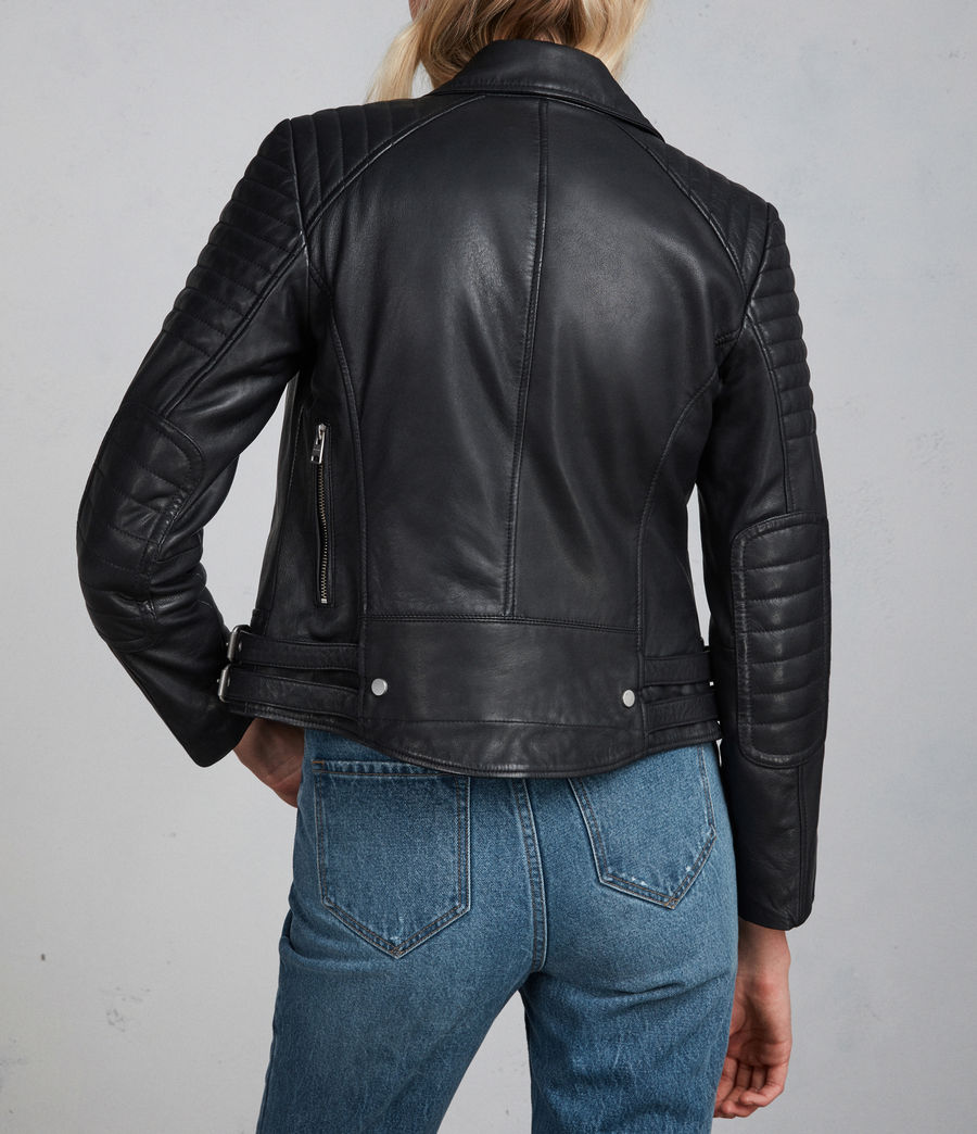 Womens Papin Leather Biker Jacket (black) - Image 10