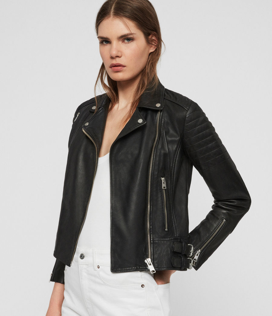 Women's Papin Leather Biker Jacket (black) - Image 2