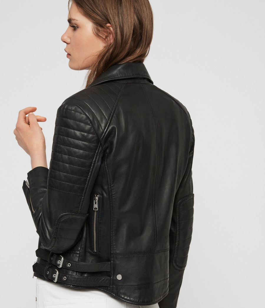 Women's Papin Leather Biker Jacket (black) - Image 6