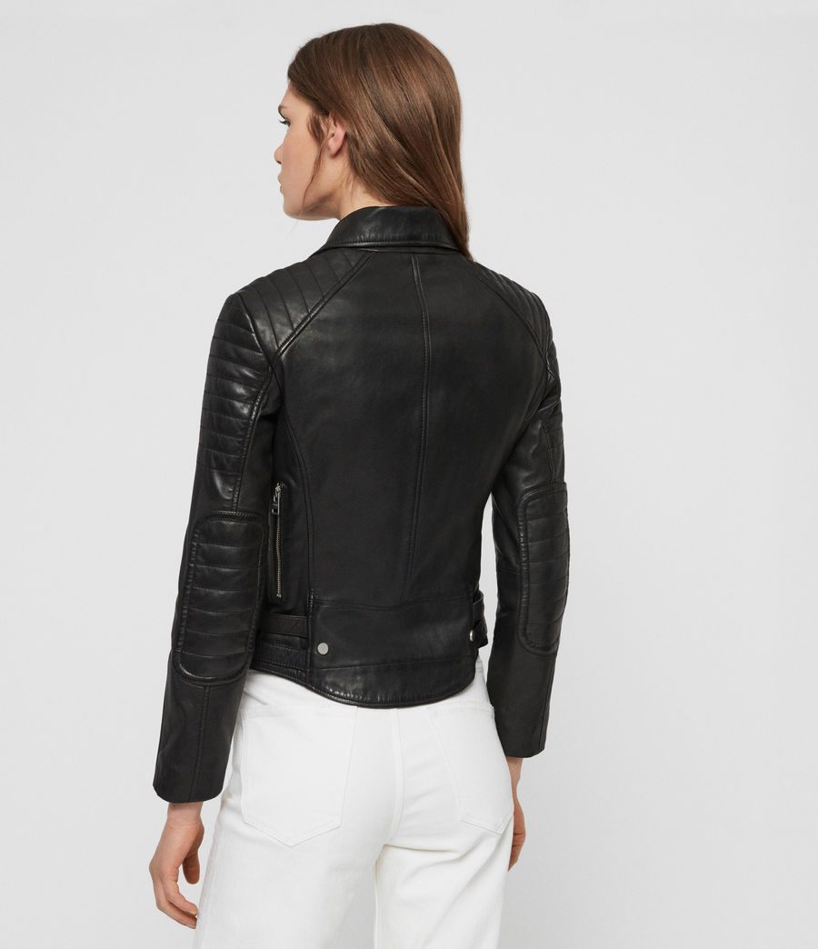 Women's Papin Leather Biker Jacket (black) - Image 7