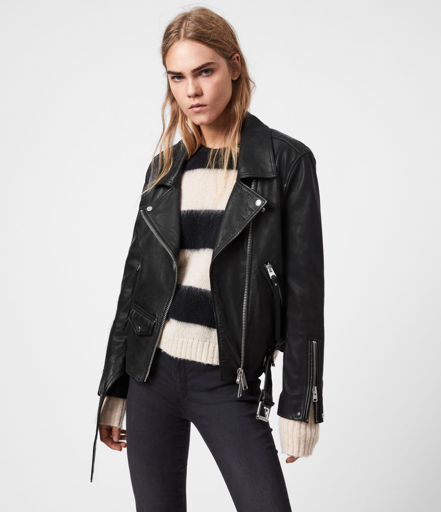 Mujer Luna Leather Biker Jacket (black) - Image 1