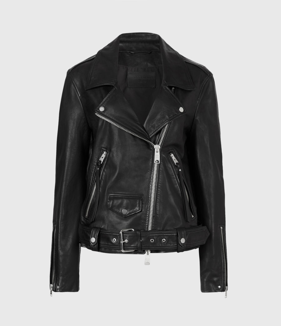 Mujer Luna Leather Biker Jacket (black) - Image 2