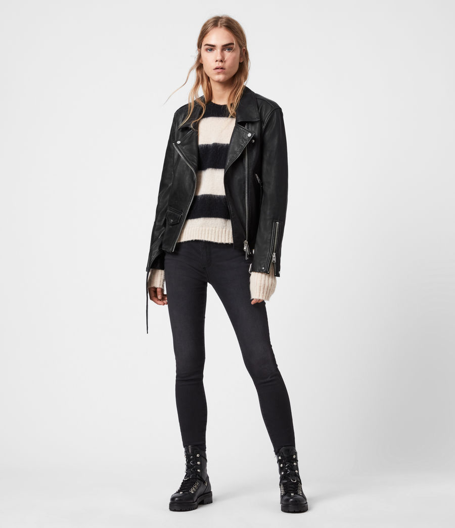 Mujer Luna Leather Biker Jacket (black) - Image 5