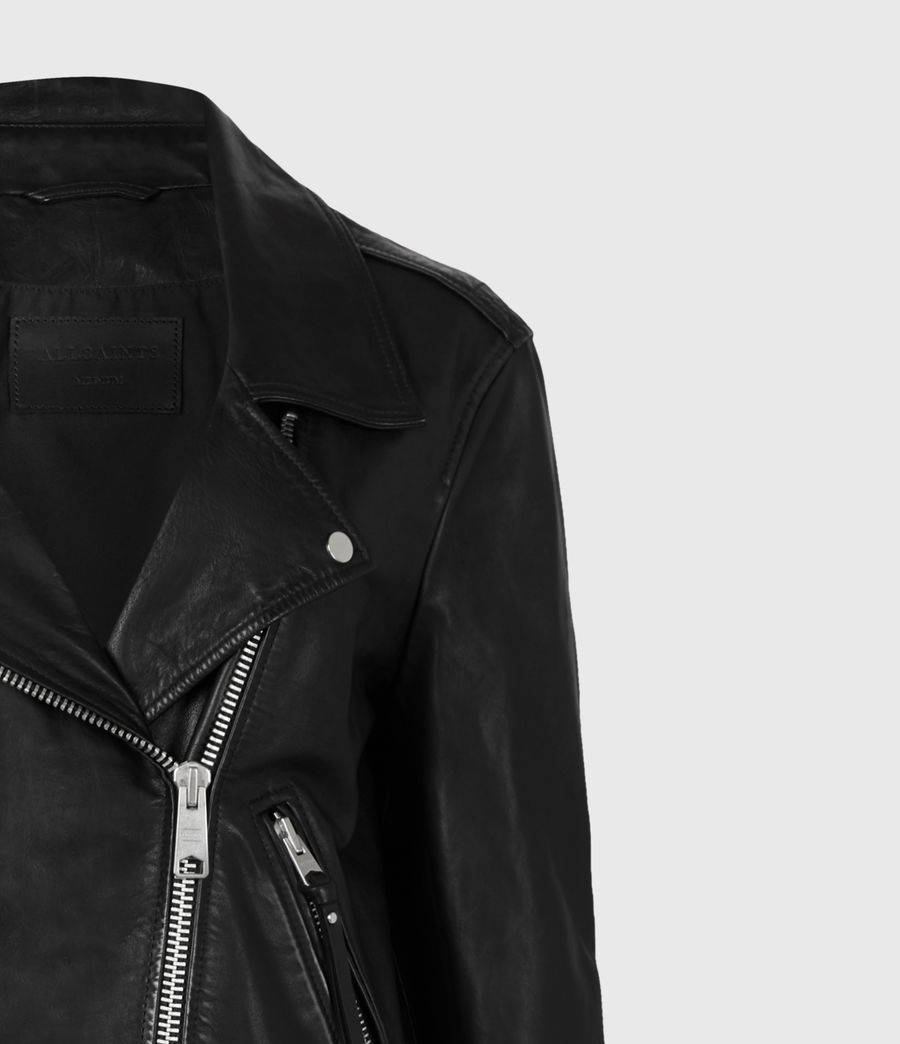 Mujer Luna Leather Biker Jacket (black) - Image 6
