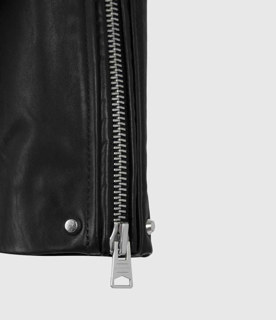Women's Luna Leather Biker Jacket (black) - Image 9