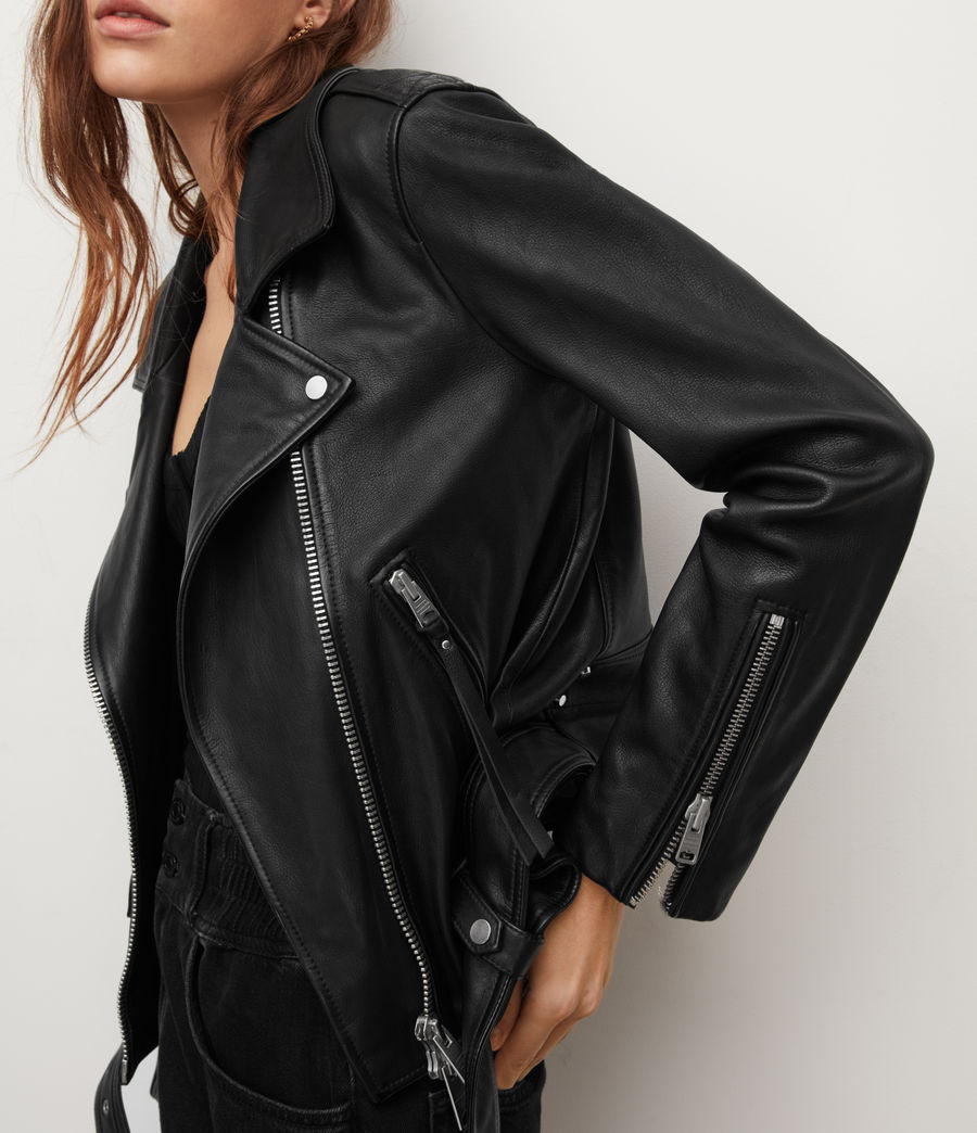 Womens Luna Leather Biker Jacket (black) - Image 2