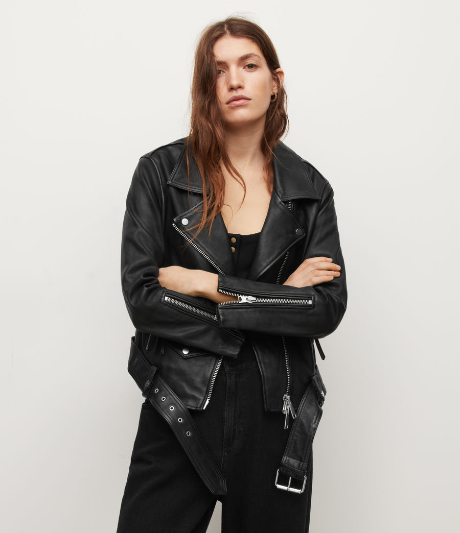 Women's Luna Leather Biker Jacket (black) - Image 3