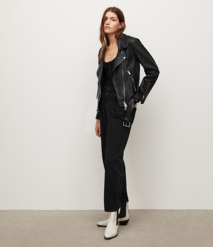 Women's Luna Leather Biker Jacket (black) - Image 4