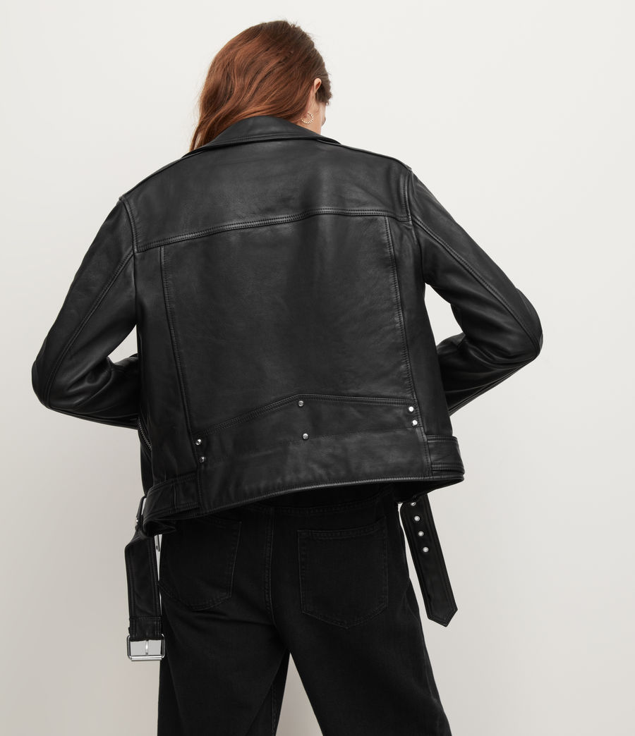 Women's Luna Leather Biker Jacket (black) - Image 6