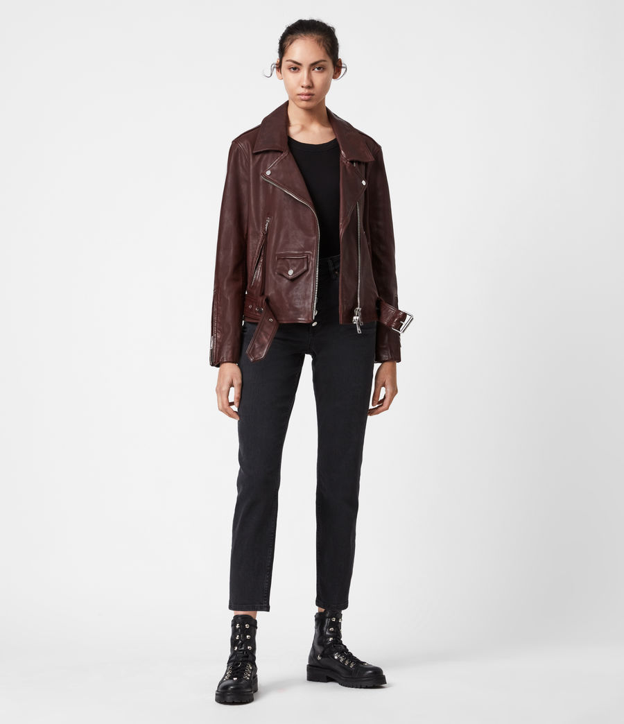 Women's Luna Leather Biker Jacket (oxblood_brown) - Image 1