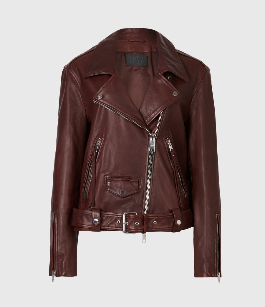 Women's Luna Leather Biker Jacket (oxblood_brown) - Image 2