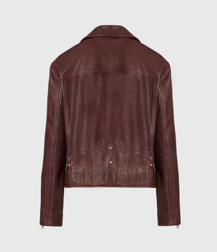Women's Luna Leather Biker Jacket (oxblood_brown) - Image 3
