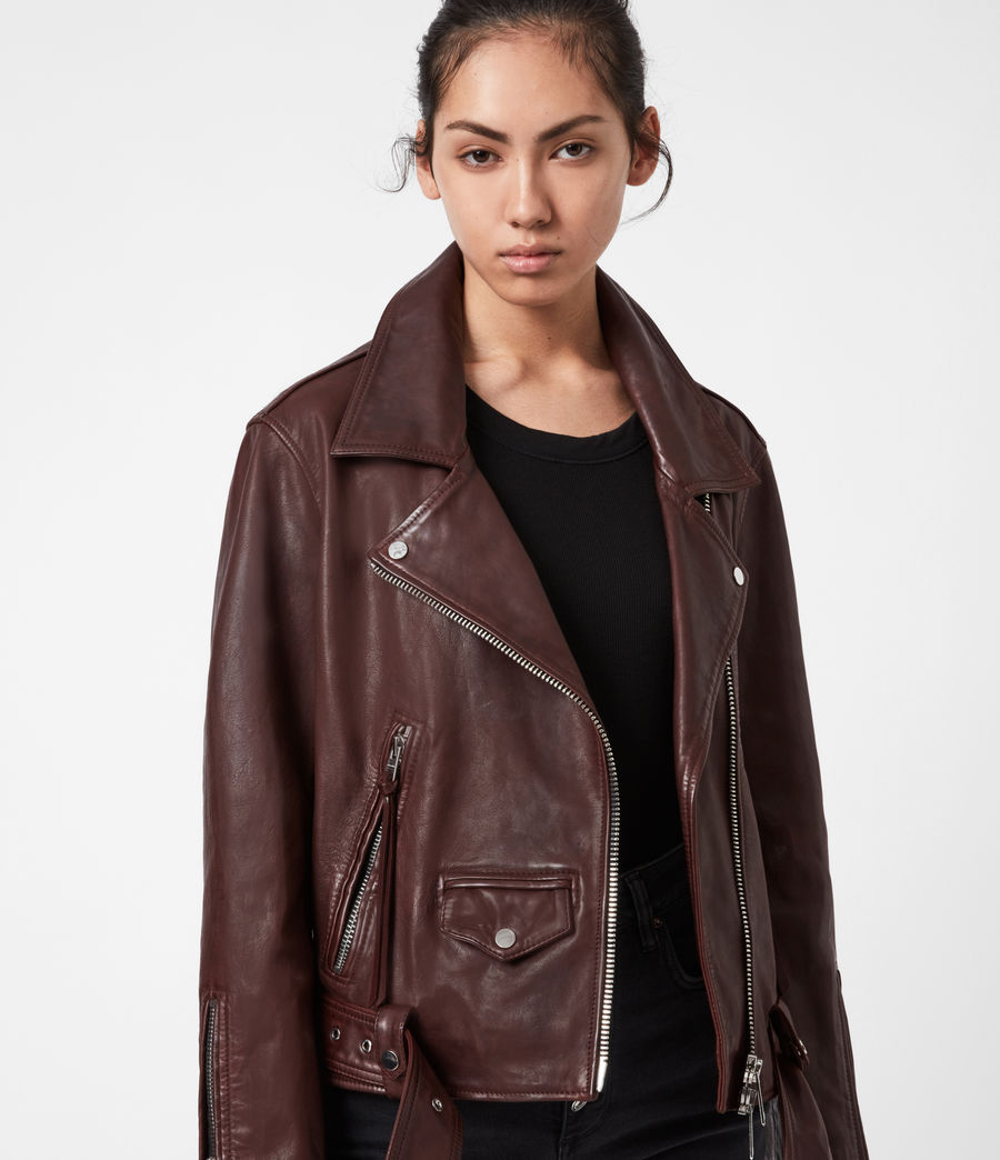 Women's Luna Leather Biker Jacket (oxblood_brown) - Image 4